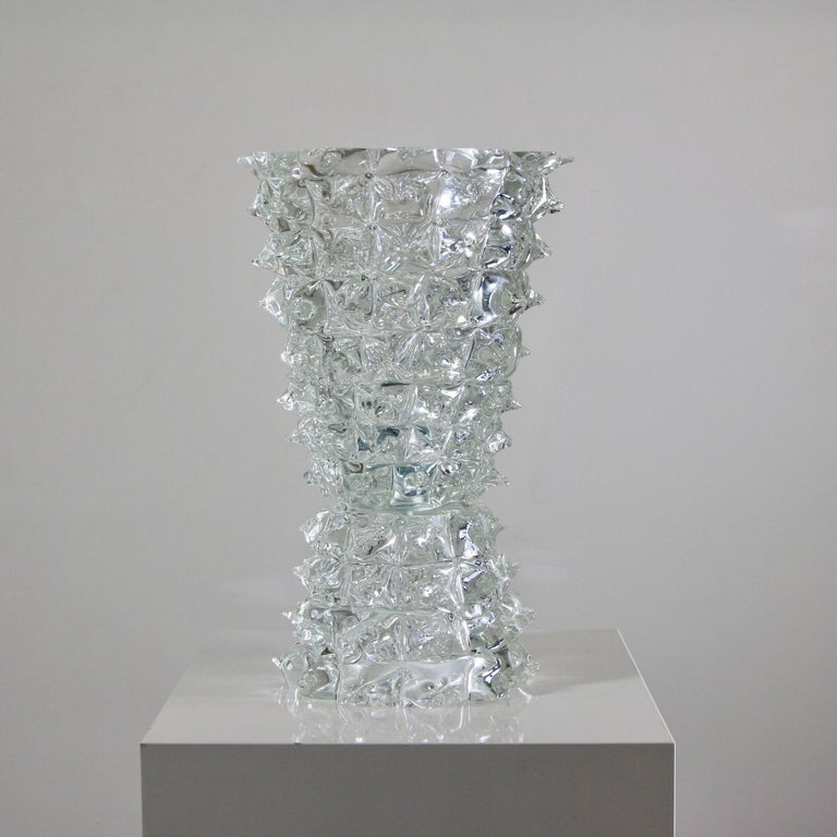 Murano Glass Table Lamo, Italy, Clear Spikes In Good Condition For Sale In Berlin, Berlin