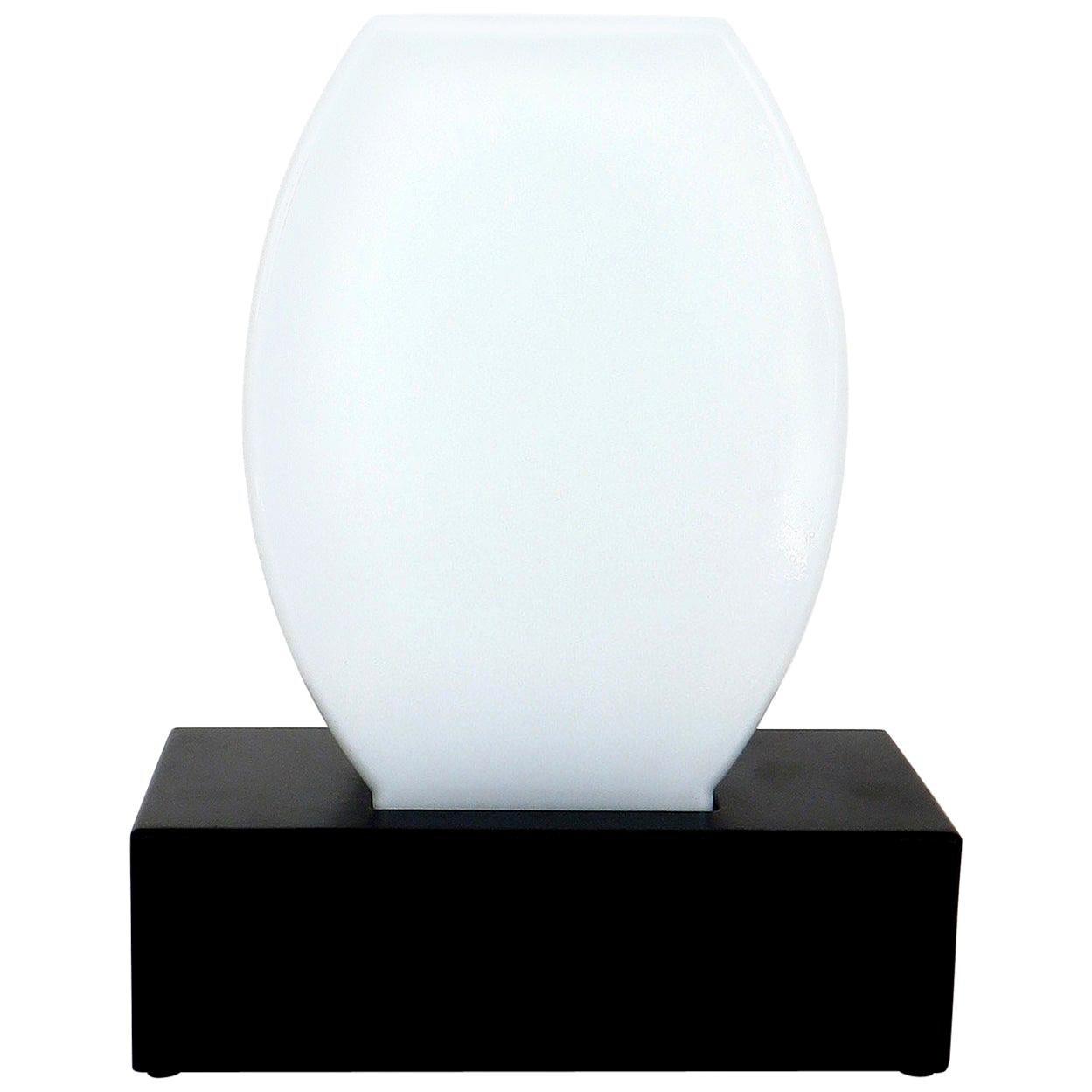 Ettore Sottsass for Stillovo Murano Glass Table Lamp Dorane Black Opaque Glass