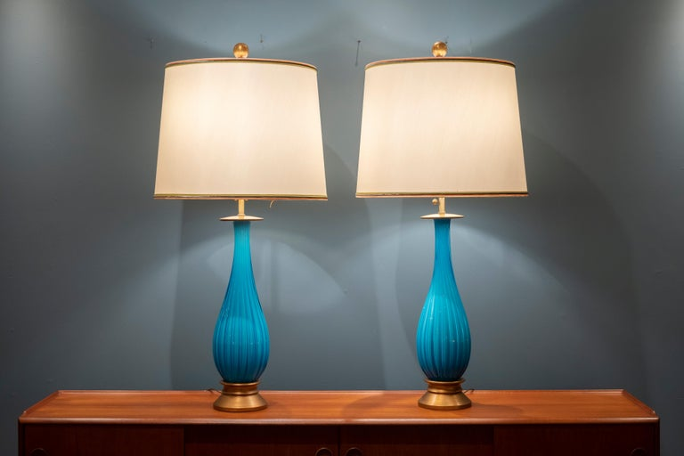 Murano Glass Table Lamps by Mabro In Good Condition For Sale In San Francisco, CA