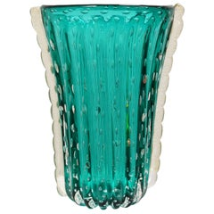 Murano Glass Teal-Colored Vase from the Workshop of Archimede Seguso Dated 1999