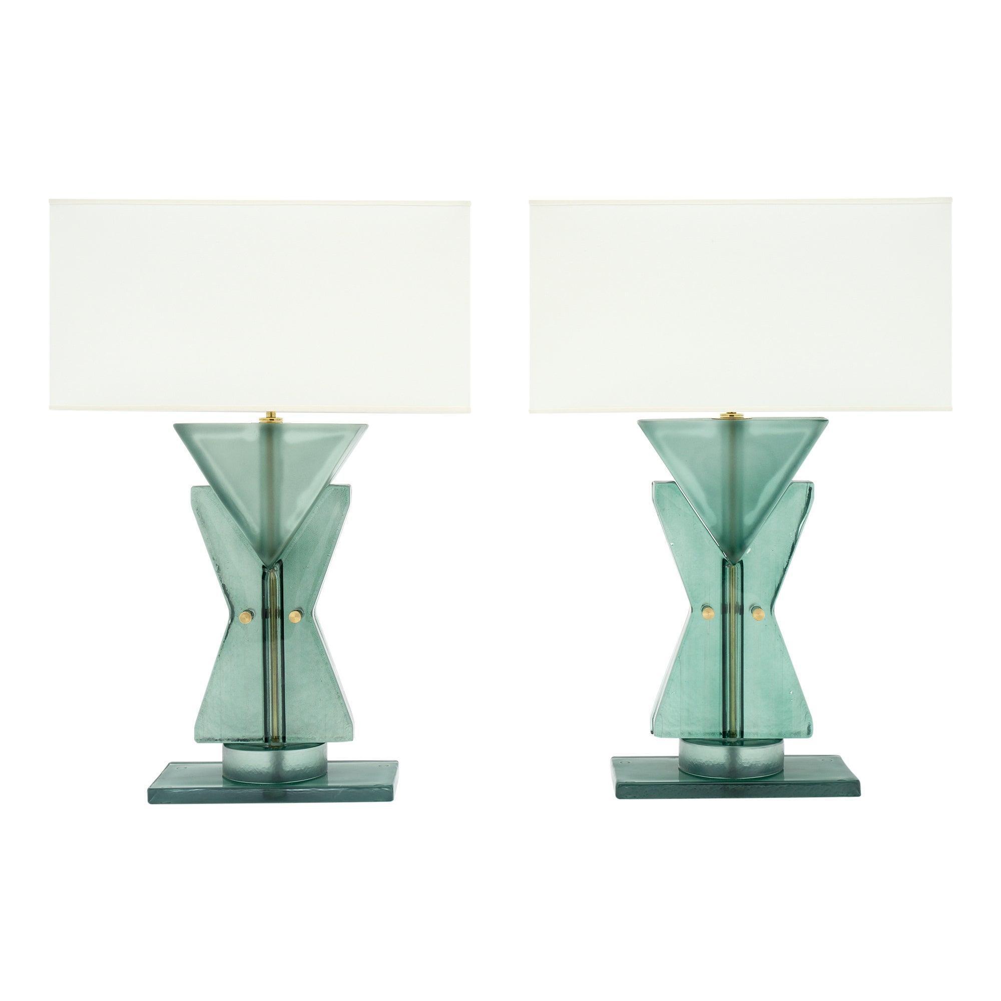 Murano Glass Teal Geometric TOTEM Lamps