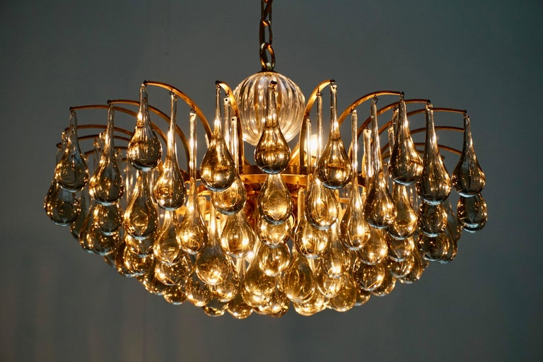 Murano Glass Tear Drop Chandelier by Christoph Palme, Germany, 1970s For Sale 4
