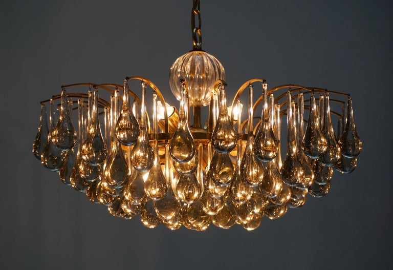 Murano Glass Tear Drop Chandelier by Christoph Palme, Germany, 1970s For Sale 5