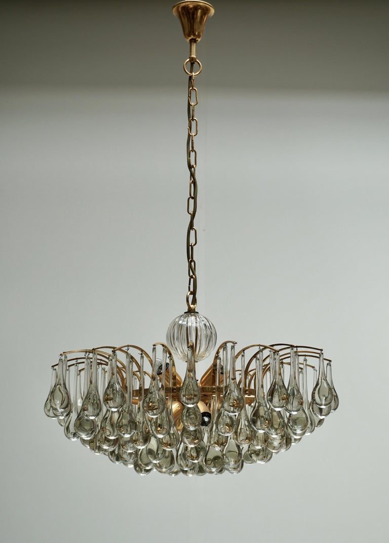 Hollywood Regency Murano Glass Tear Drop Chandelier by Christoph Palme, Germany, 1970s For Sale