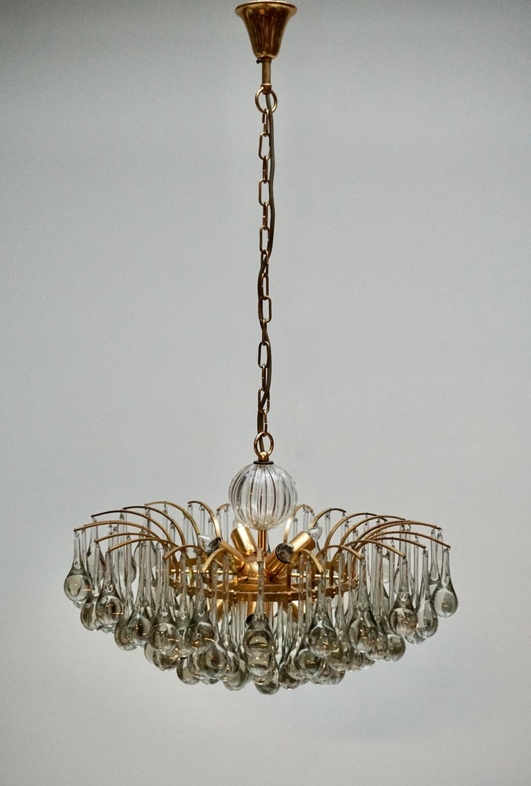 Murano Glass Tear Drop Chandelier by Christoph Palme, Germany, 1970s In Good Condition For Sale In Antwerp, BE