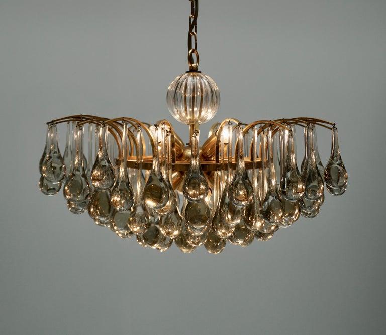 Brass Murano Glass Tear Drop Chandelier by Christoph Palme, Germany, 1970s For Sale