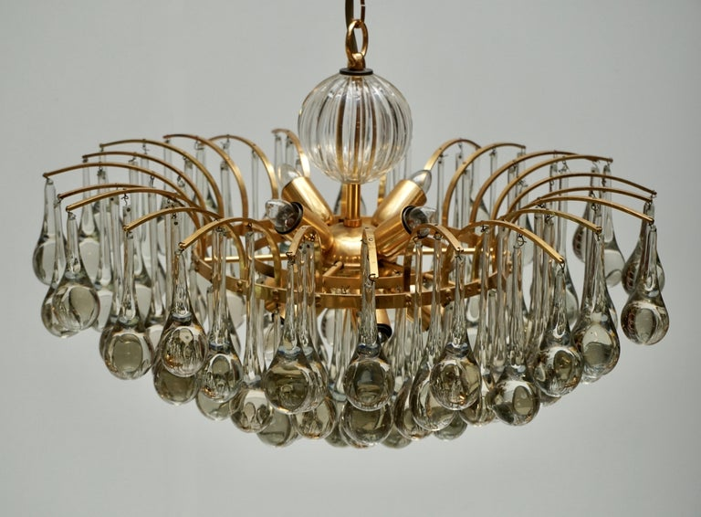 Murano Glass Tear Drop Chandelier by Christoph Palme, Germany, 1970s For Sale 2