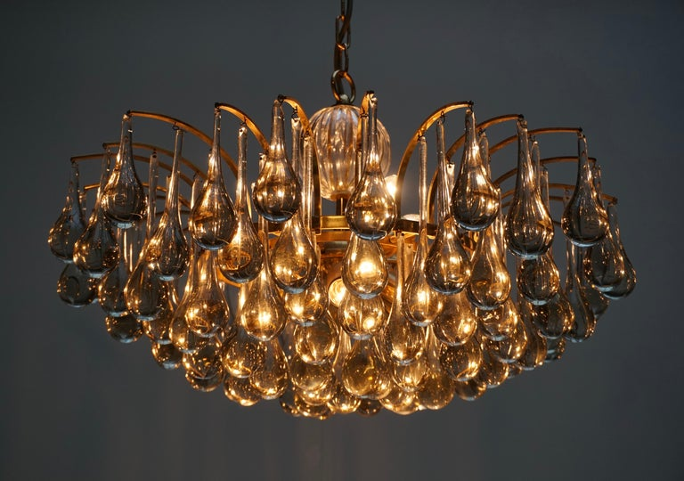 Murano Glass Tear Drop Chandelier by Christoph Palme, Germany, 1970s For Sale 3