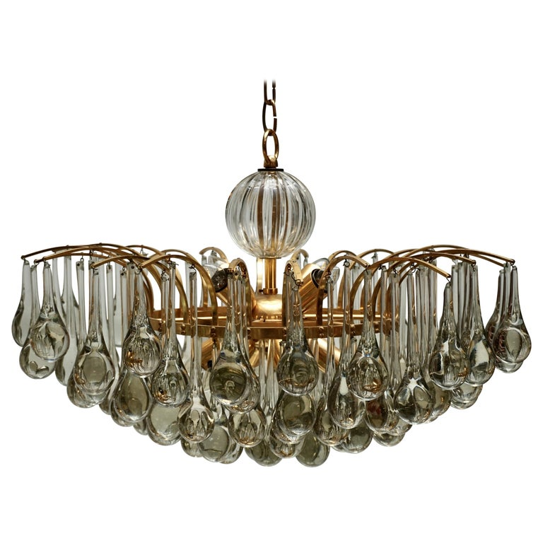 Murano Glass Tear Drop Chandelier by Christoph Palme, Germany, 1970s For Sale