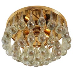 Murano Glass Tear Drop Flush Mount Chandelier by Palwa, 1970s