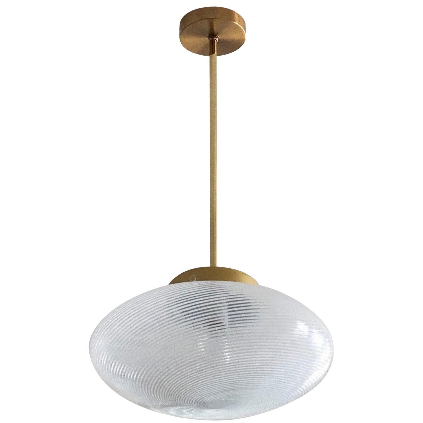 Venini Pendant Murano Glass Brass, Italy, 1960s