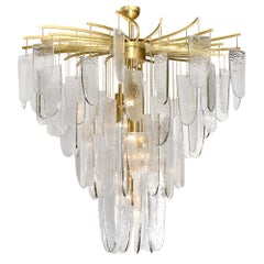 Murano Glass Textured Chandelier with Silver Leaf Edges