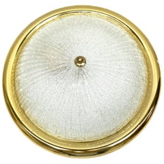 Murano Glass Textured Fischer Leuchten Flush mount, Germany, 1970s