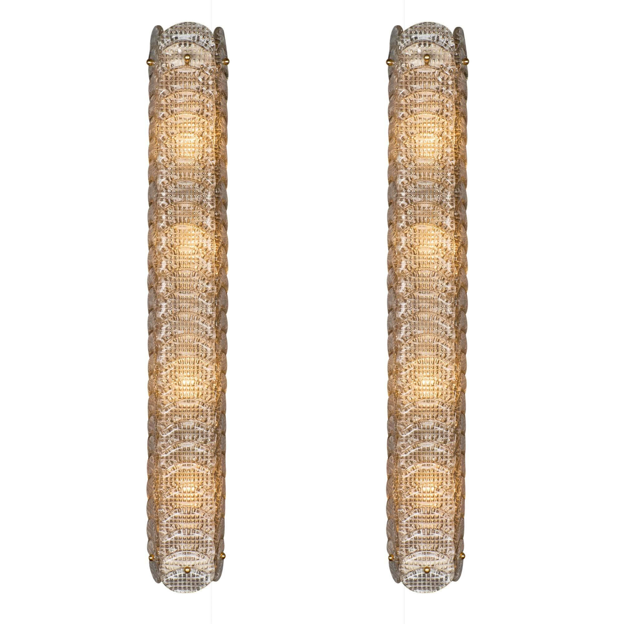 "Murano Glass Textured ""Reticello"" Sconces"