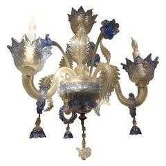 Murano Glass Three Light Chandelier