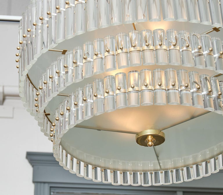 Art Deco Murano Glass Tiered Rod Chandelier For Sale