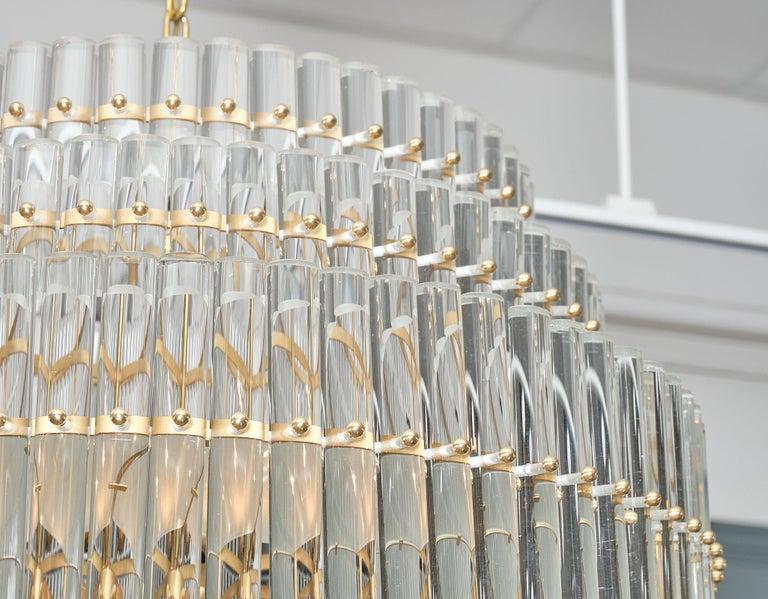 Italian Murano Glass Tiered Rod Chandelier For Sale