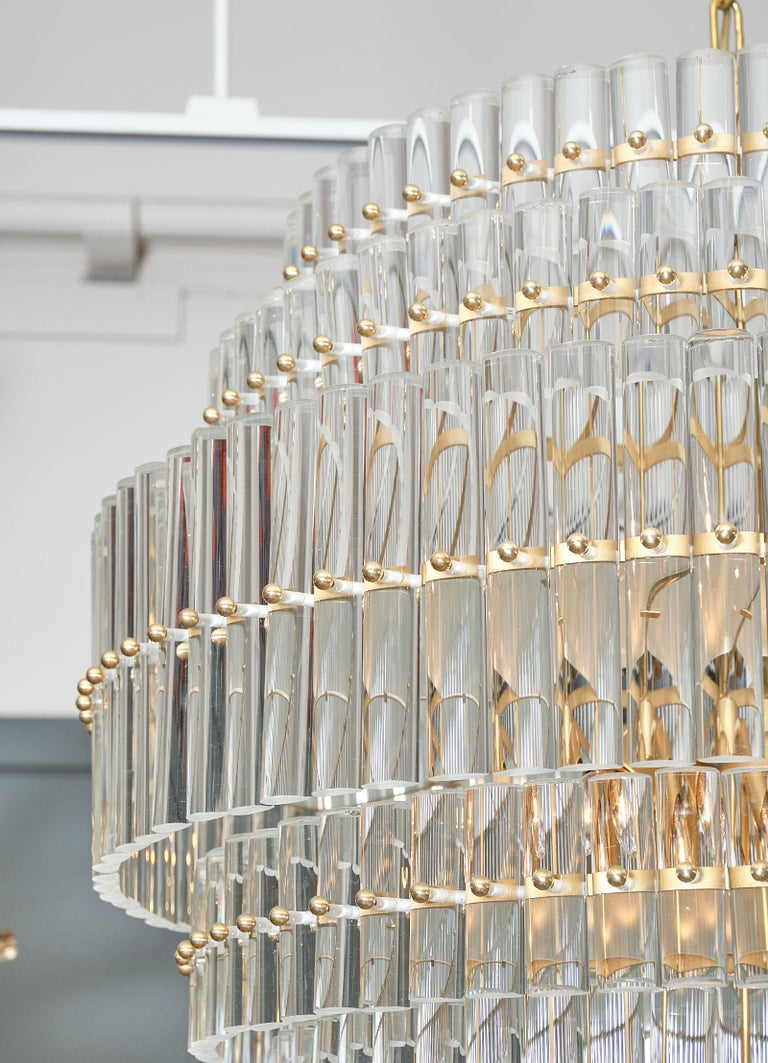 Murano Glass Tiered Rod Chandelier In Good Condition For Sale In Austin, TX