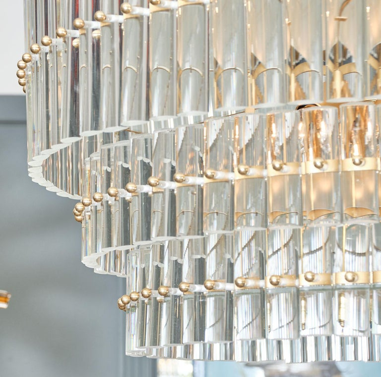 Contemporary Murano Glass Tiered Rod Chandelier For Sale