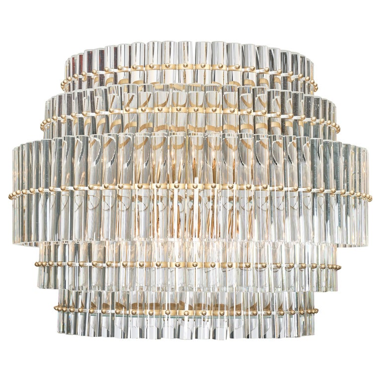 Murano Glass Tiered Rod Chandelier For Sale