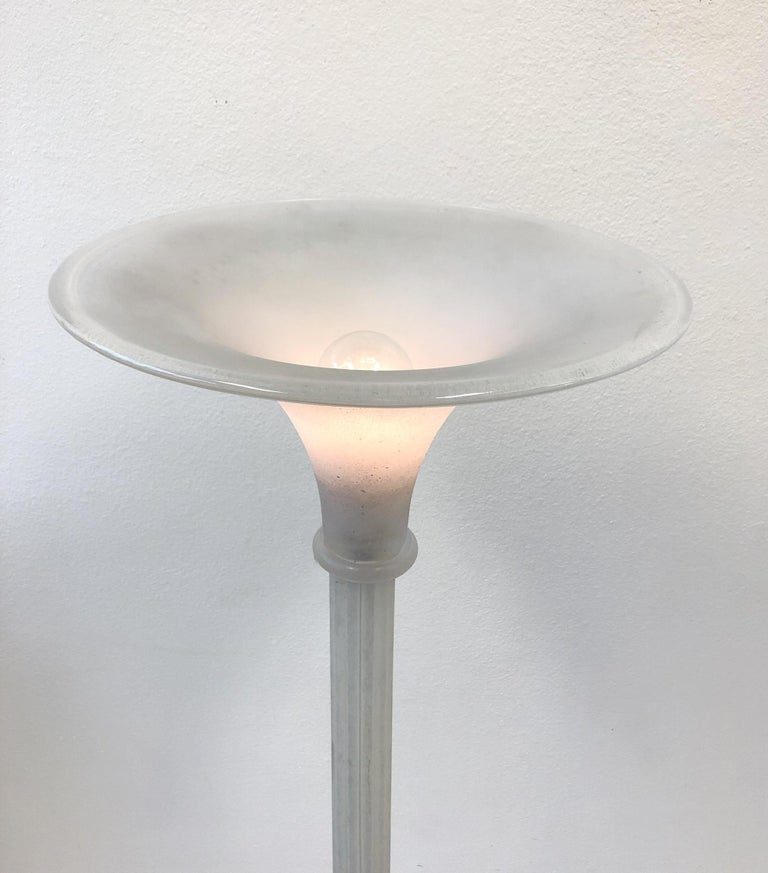Murano Glass Torchère Floor Lamp by Karl Springer for Seguso For Sale 2
