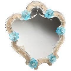 Murano Glass Vanity Mirror Blue Flowers, circa 1950s, Italy Venetian Venice