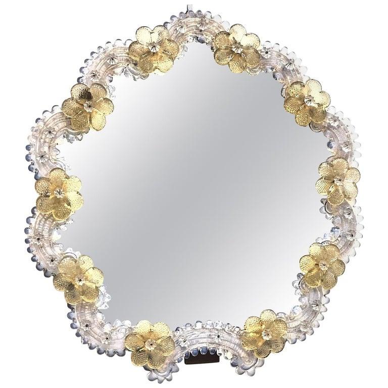 Murano Glass Vanity Mirror, circa 1950s Italy Venetian Venice For Sale