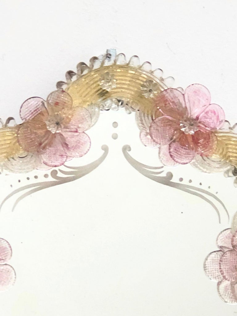 Etched Murano Glass Vanity Mirror circa 1960s Italy Venetian Venice For Sale