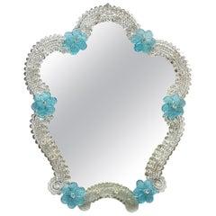 Murano Glass Vanity Wall Mirror Blue Flowers, circa 1960s, Italy Venetian Venice