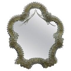 Murano Glass Vanity Wall Mirror Flowers, circa 1960s, Italy Venetian Venice