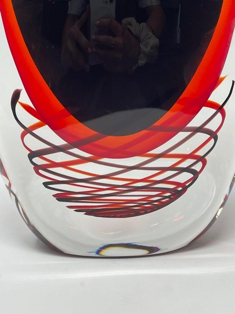 Mid-Century Modern Murano Glass Vase by Luigi Onesto, 1980s For Sale