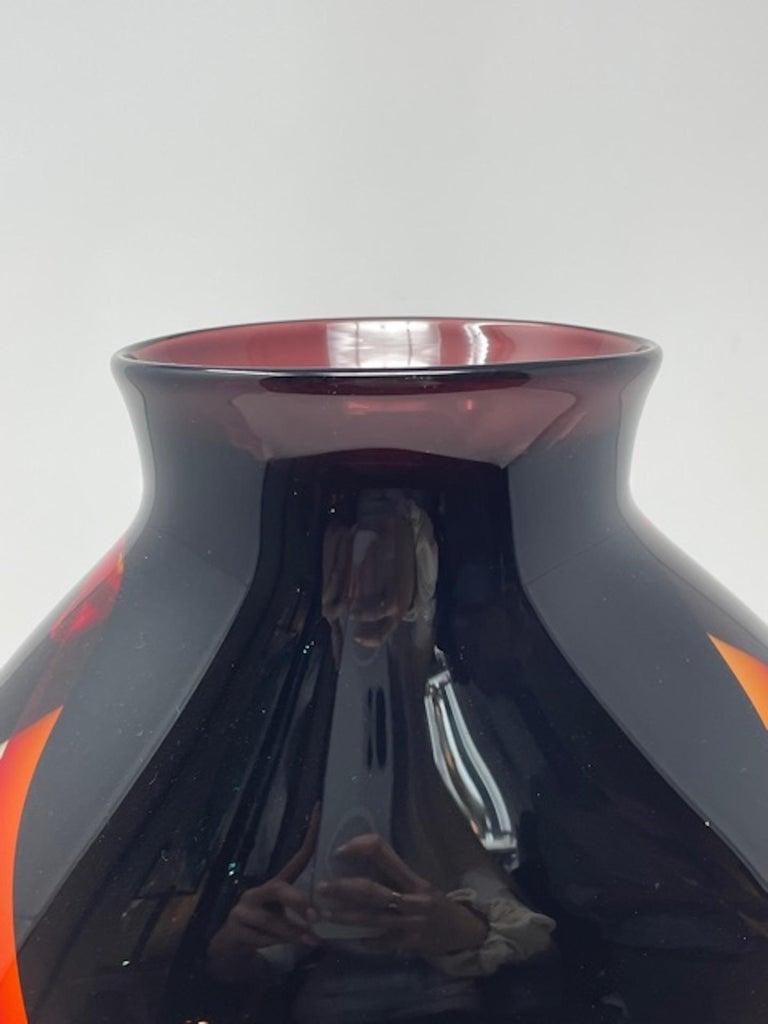 Italian Murano Glass Vase by Luigi Onesto, 1980s For Sale