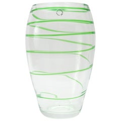 Murano Glass Vase by V. Nason & Co. Italy, Green Swirl Stripe