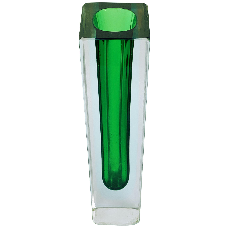 Murano Glass, Vase green by Flavio Poli for Seguso, Italy, circa 1960