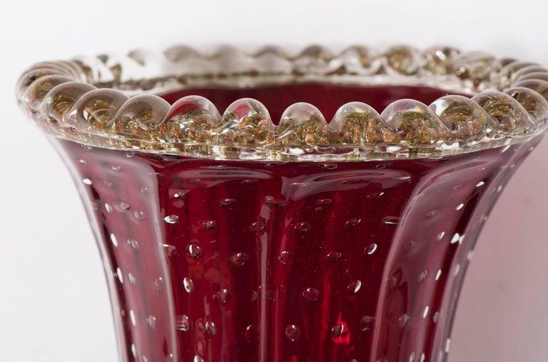 Murano Glass Vase in Red by Pino Signoretto, Italy circa 1940 For Sale 2
