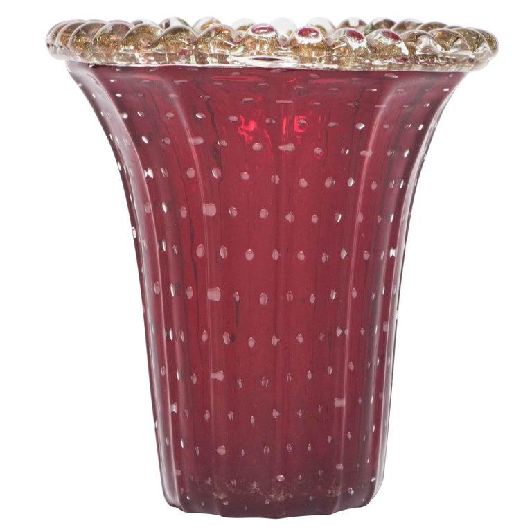 Murano Glass Vase in Red by Pino Signoretto, Italy circa 1940 For Sale