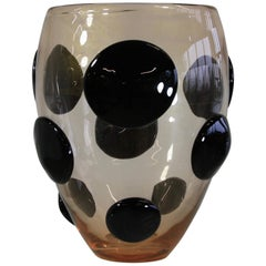Murano Glass Vase, Italy 'Black Spots and Golddust'