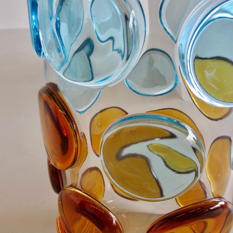 Large hand-blown 'bubble' glass vase, Italy, Murano.  Superb glass vase with decorative elements in light blue and orange. Engraved with signature on base. Beautiful and large decorative glass vase from Murano.