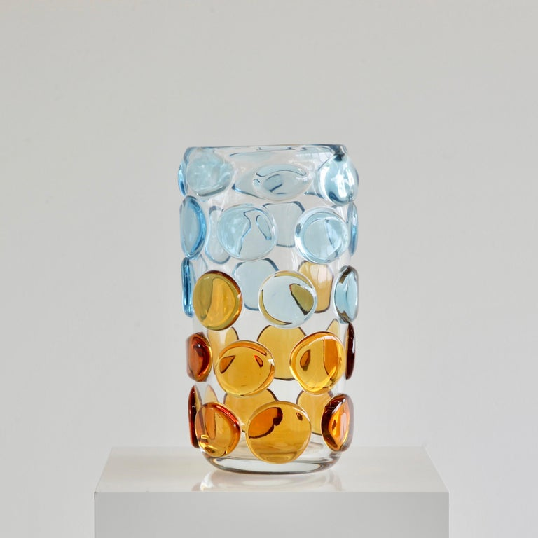 Modern Murano Glass Vase, Italy 'Bubbles in light blue and orange' For Sale