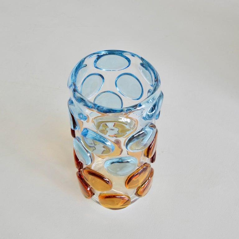 Italian Murano Glass Vase, Italy 'Bubbles in light blue and orange' For Sale