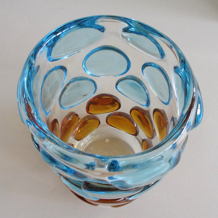 Contemporary Murano Glass Vase, Italy 'Bubbles in light blue and orange' For Sale