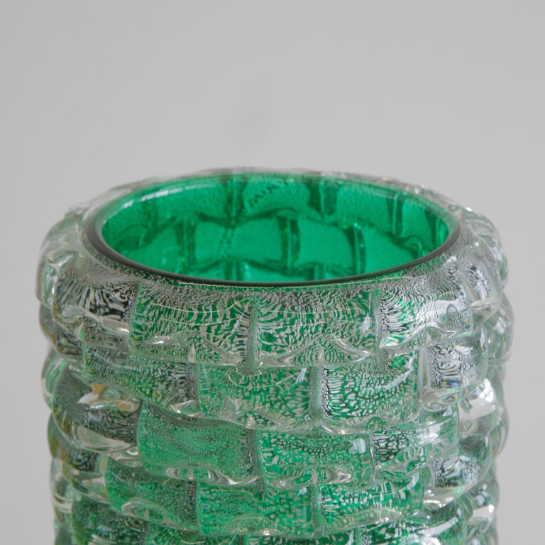 Large hand-blown glass vase, Italy, Murano.  Contemporary green glass vase with silver, engraved with signature on base. Heavy and decorative piece, made in Murano.