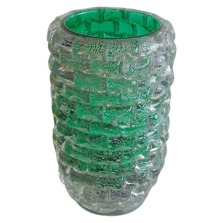 Murano Glass Vase, Italy, Signed For Sale