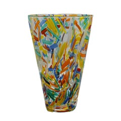 Murano Glass Vase with Colorful Etched Detailing, circa 1960