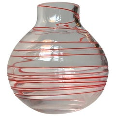 Murano Glass Vase with Red Swirl, 1970s
