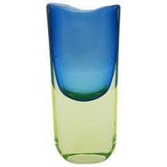 Murano Glass Vase, Yellow and Blue by Cenedese Gino, Designer Antonio da Ros