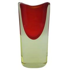 Murano Glass Vase, Yellow and Red by Cenedese Gino, Designer Antonio da Ros
