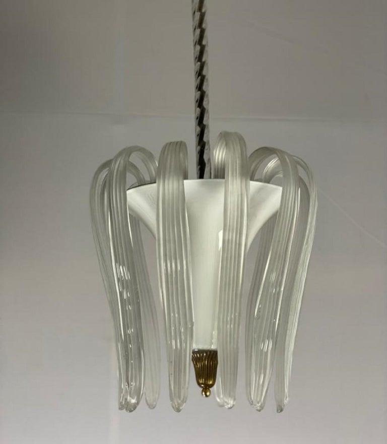 Italian Murano Glass Venini Chandelier - Italy 1950s For Sale