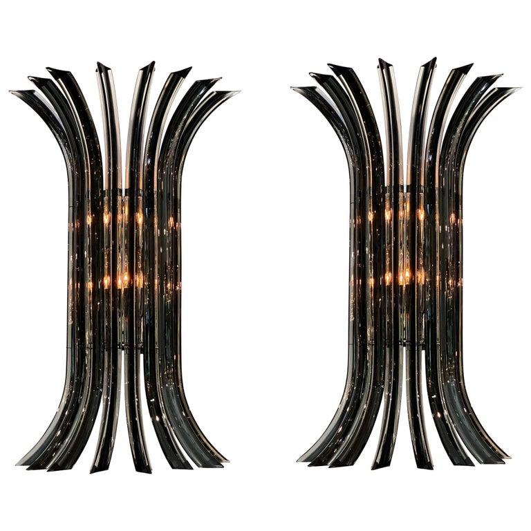 Murano Glass Venini Curved Sconces For Sale