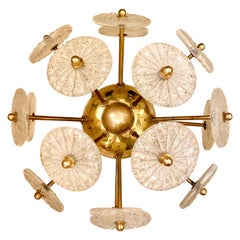 Murano Glass Wall Sconce with Round Craquelè Clear Glass, 1950s